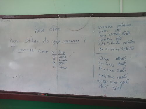 board work for the lesson on how often in an ESL class
